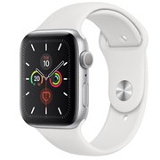APPLE WATCH SERIES 5 GPS 44MM SILVER ALUMINIUM CASE WITH WHITE SPORT BAND