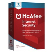 MCAFEE INTERNET SECURITY 2020 1 ANO 3 DISPOSITIVOS CAIXA