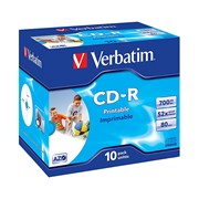 VERBATIM CD-R 52X 700MB 80MIN CAIXA NORMAL (JEWEL) PRINT PACK 10