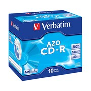 VERBATIM CD-R 52X 700MB 80MIN CAIXA NORMAL (JEWEL) PACK 10
