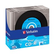 VERBATIM CD-R 52X 700MB PK 10 SLIM CASE VINYL